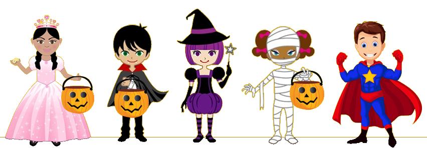 Cartoon kids in costume